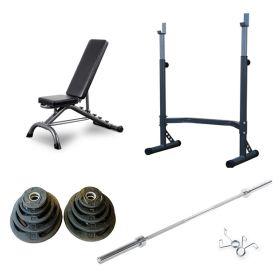 Styrkepakke med vektstativ, fleksibenk, vektstang og vekter.