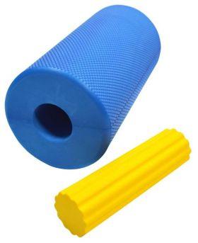 Foam Roll 30 cm med fotrull blå og gul